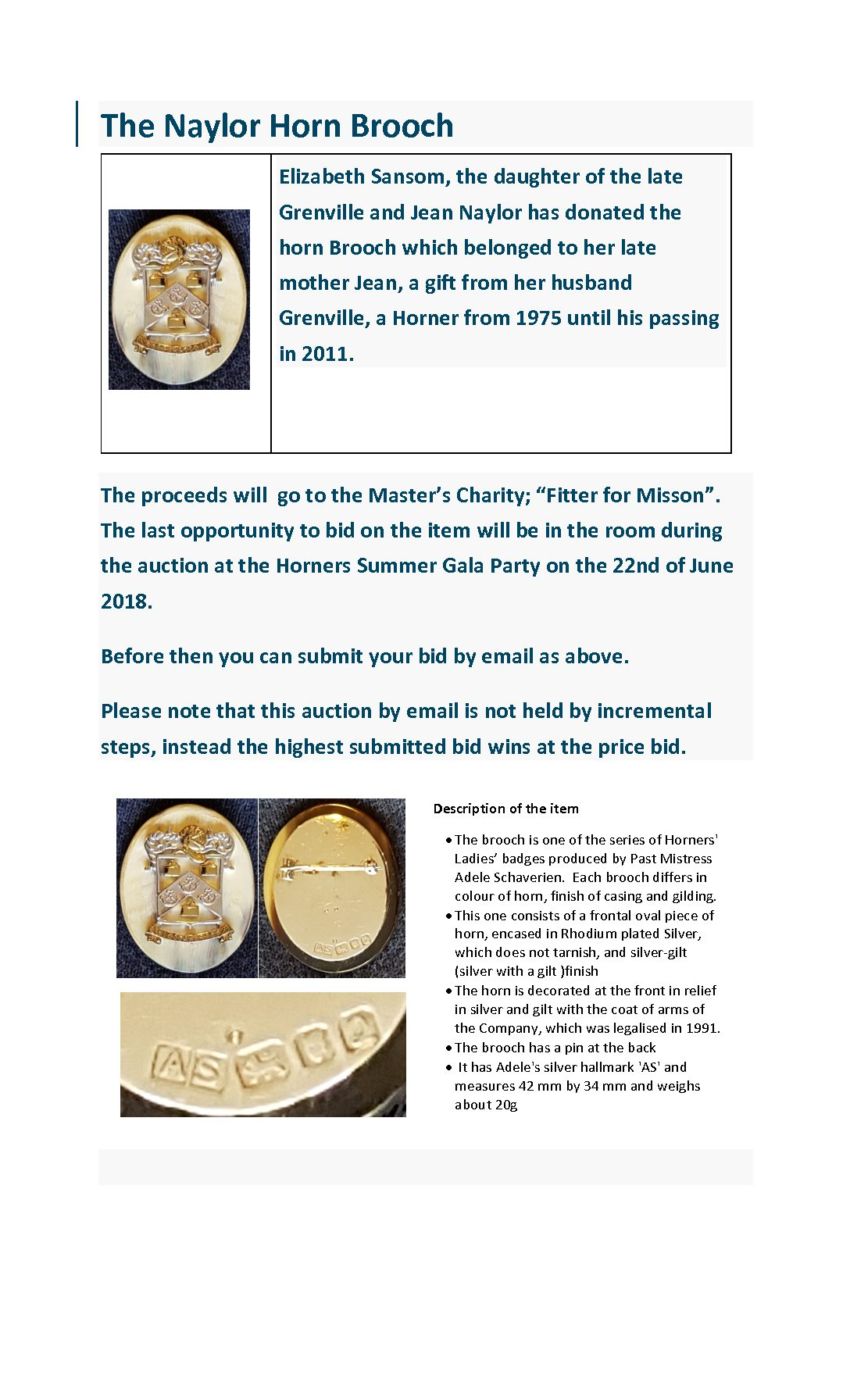 The Naylor Brooch Auction - The Worshipful Company of Horners